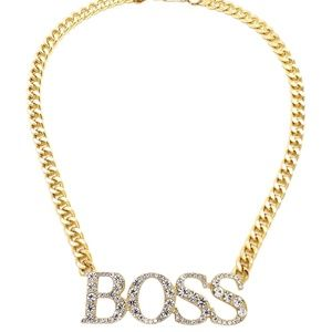 ICED OUT BOSS PENDANT & NECKLACE WITH LINK CHAIN